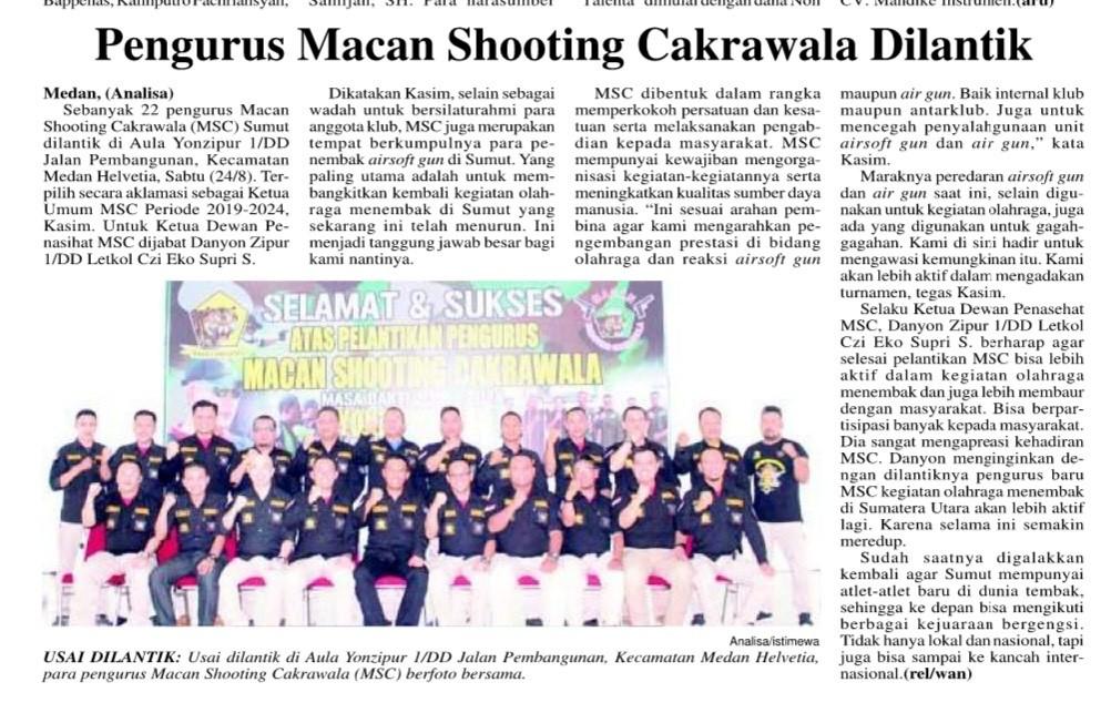 Pengurus Macan Shooting Cakrawala dilantik