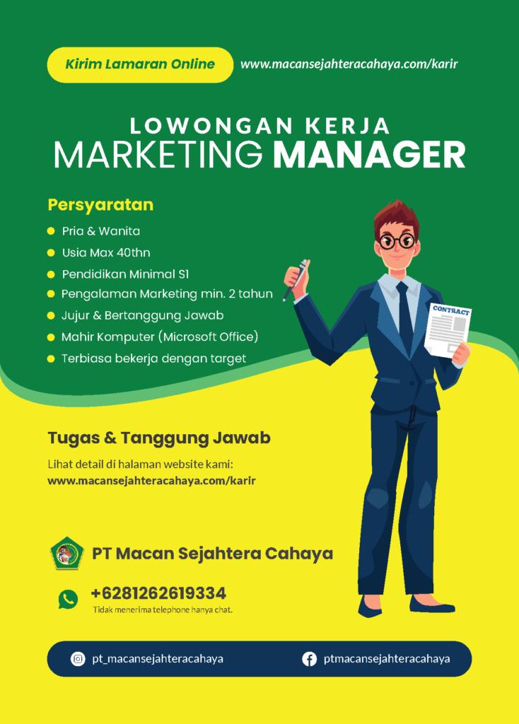 Lowongan Marketing Manager
