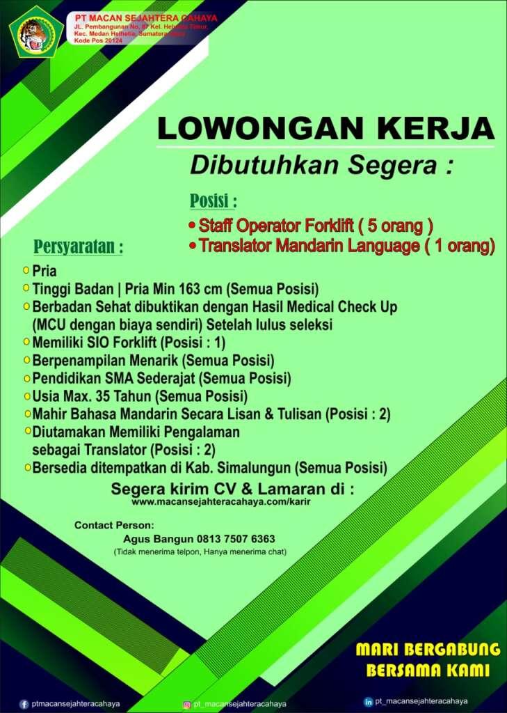 Lowongan Operator Forklift & Translator Mandarin