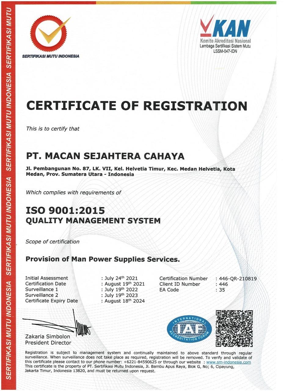 ISO 9001 PT Macan Sejahtera Cahaya